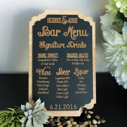 Personalized Bar Menu Sign | Desiree Addie