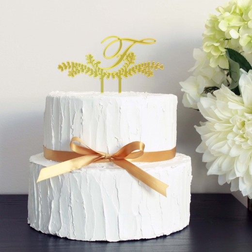 Wedding Cake Topper   F Monogram