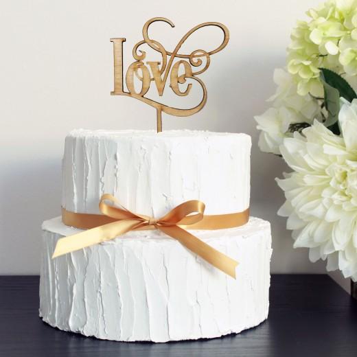Wood Cake Topper   Love