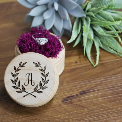Personalized Wood Ring Box | Laurel A