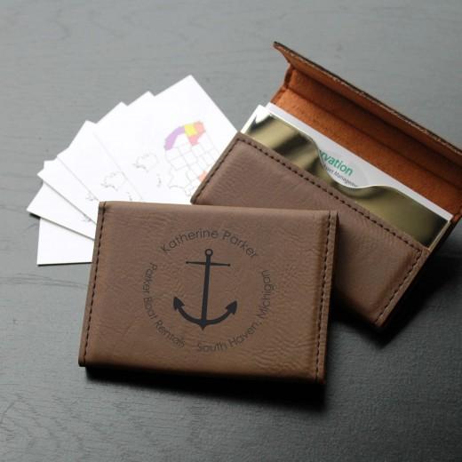 Leather Business Card Holder   Katherine Parker