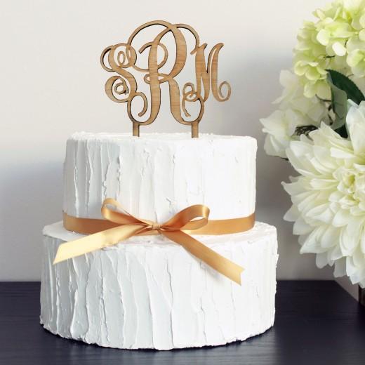 Wood Birthday Cake Topper   Initials