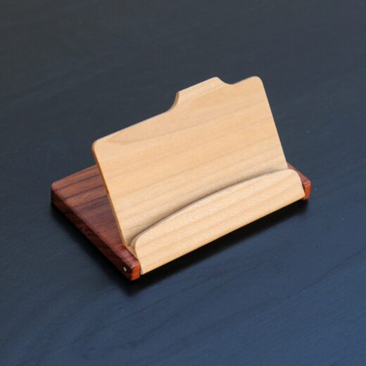 Personalized Wood Business Card Holder   Open