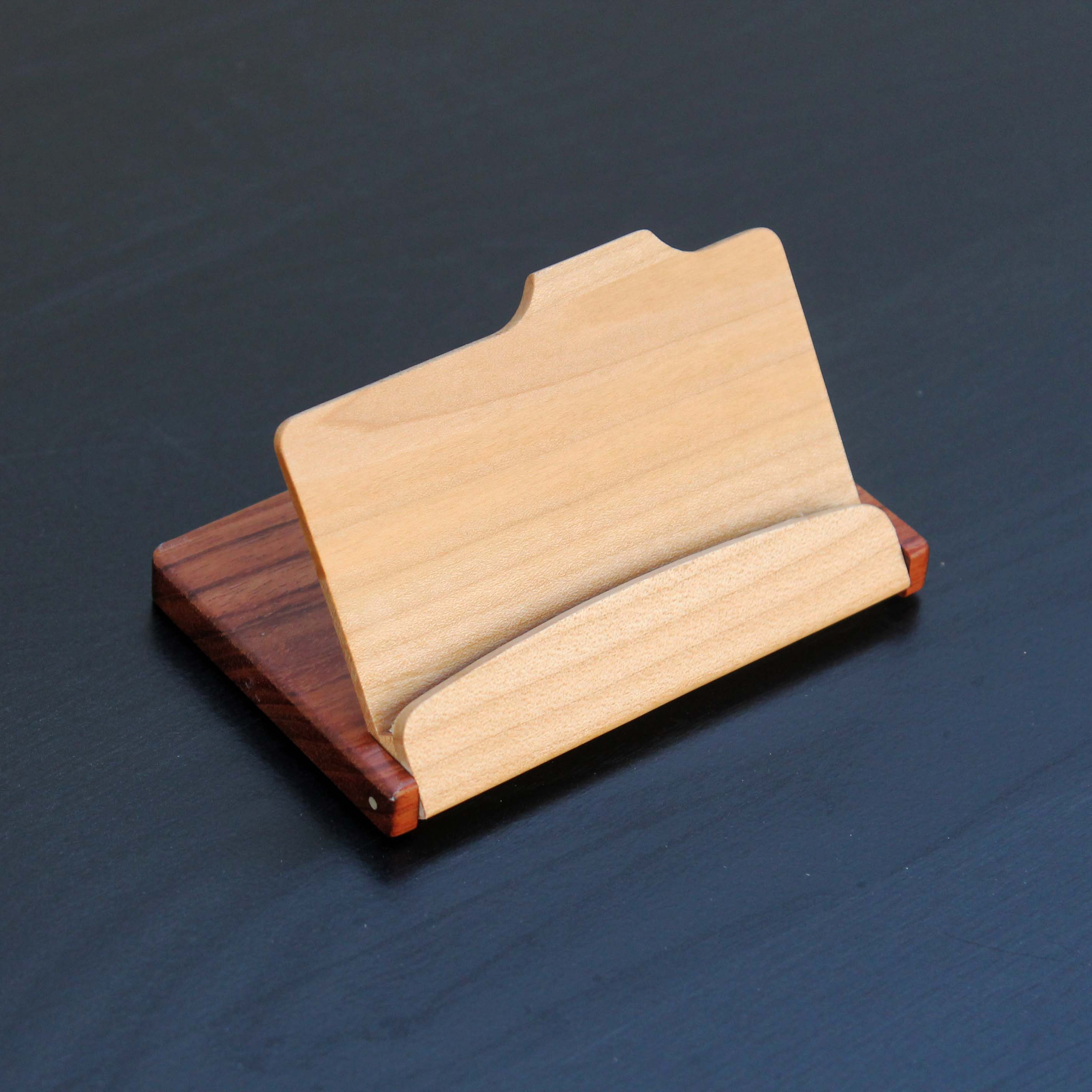 Personalized Wood Business Card Holder | Open
