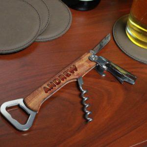 Wood Corkscrew Bottle Opener | Andrew