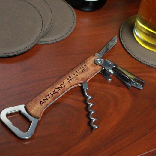 Wood Corkscrew Bottle Opener | Anthony