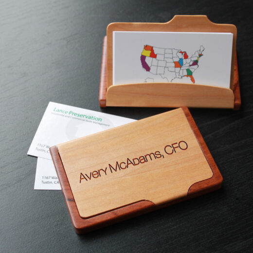 Personalized Wood Business Card Holder   Avery Mcadams