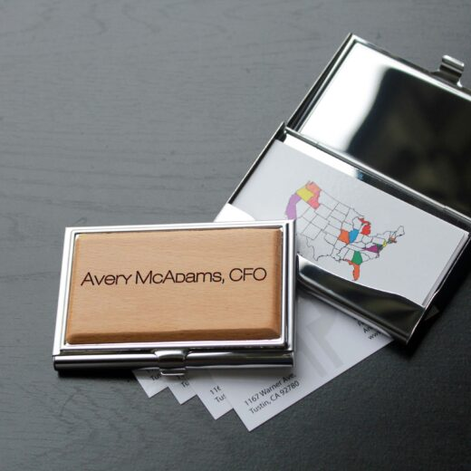 Personalized Wood Silver Business Card Holder   Avery Mcadams