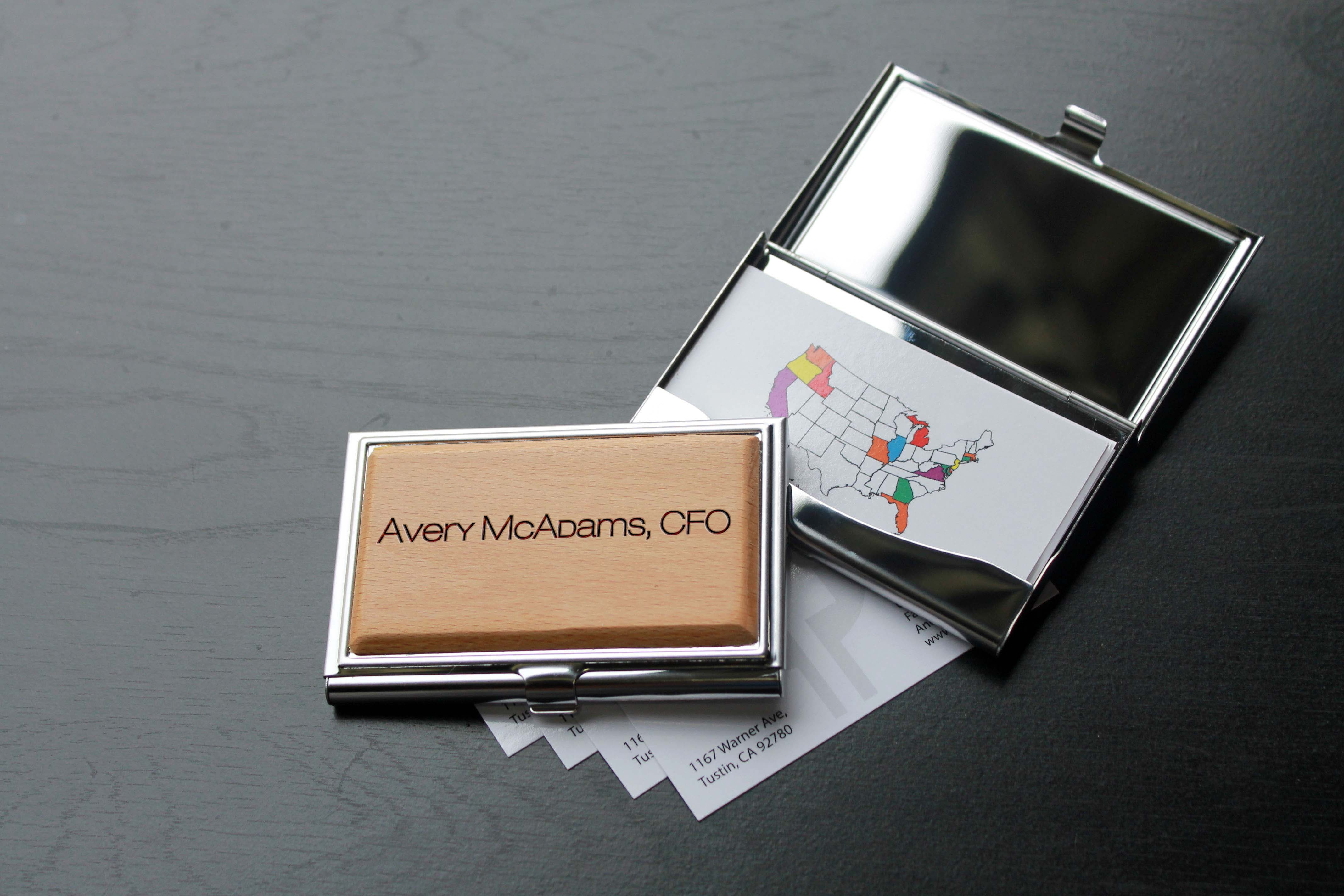 Personalized Wood Silver Business Card Holder | Avery Mcadams - Etchey