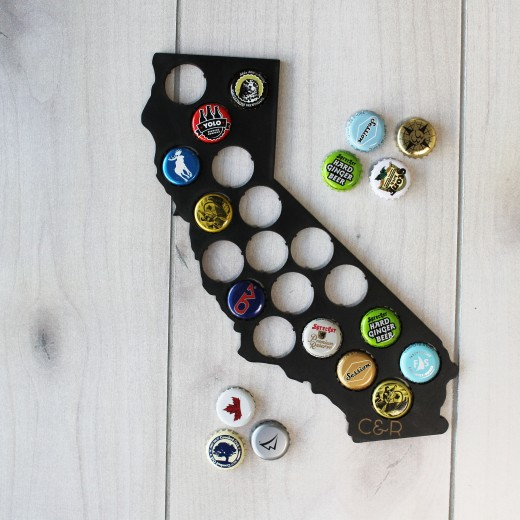 State Beer Cap Map | Black