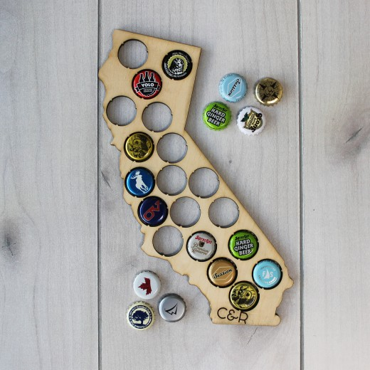 State Beer Cap Map | Wood
