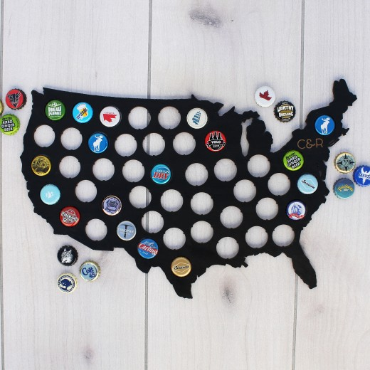 USA Beer Cap Map | Black