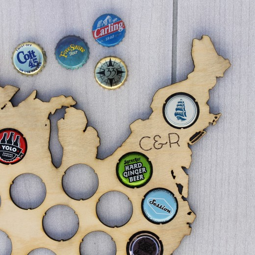 USA Beer Cap Map | Wood