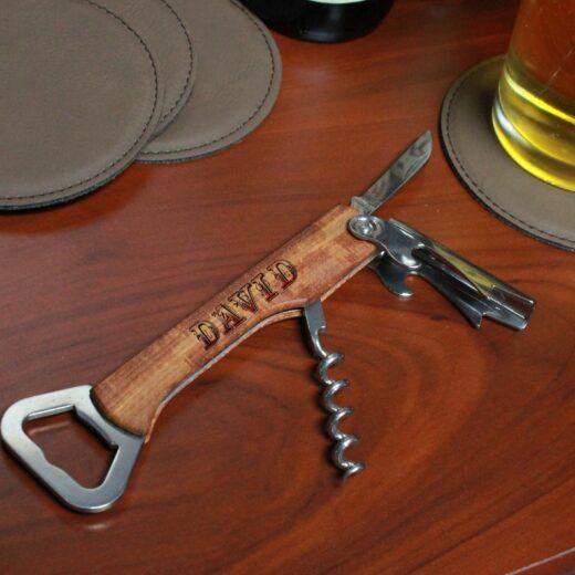 Wood Corkscrew Bottle Opener | David