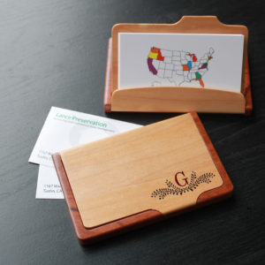 Personalized Wood Business Card Holder | G Reef Corner