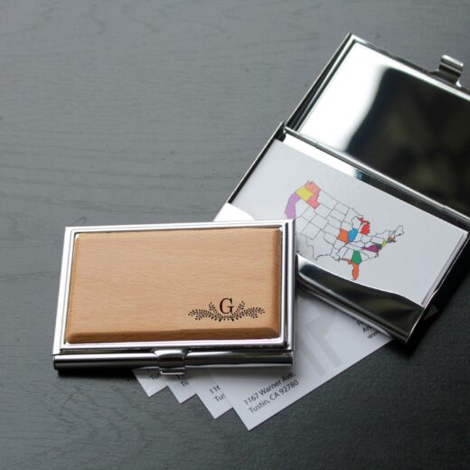 Personalized Wood Silver Business Card Holder   G Reef