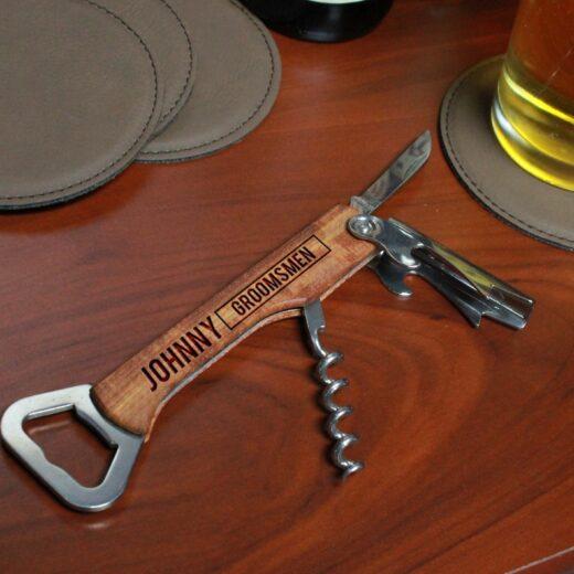 Wood Corkscrew Bottle Opener | Johnny