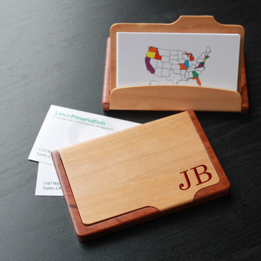 Personalized Wood Business Card Holder   JB corner