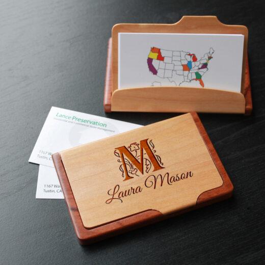 Personalized Wood Business Card Holder   Laura Mason