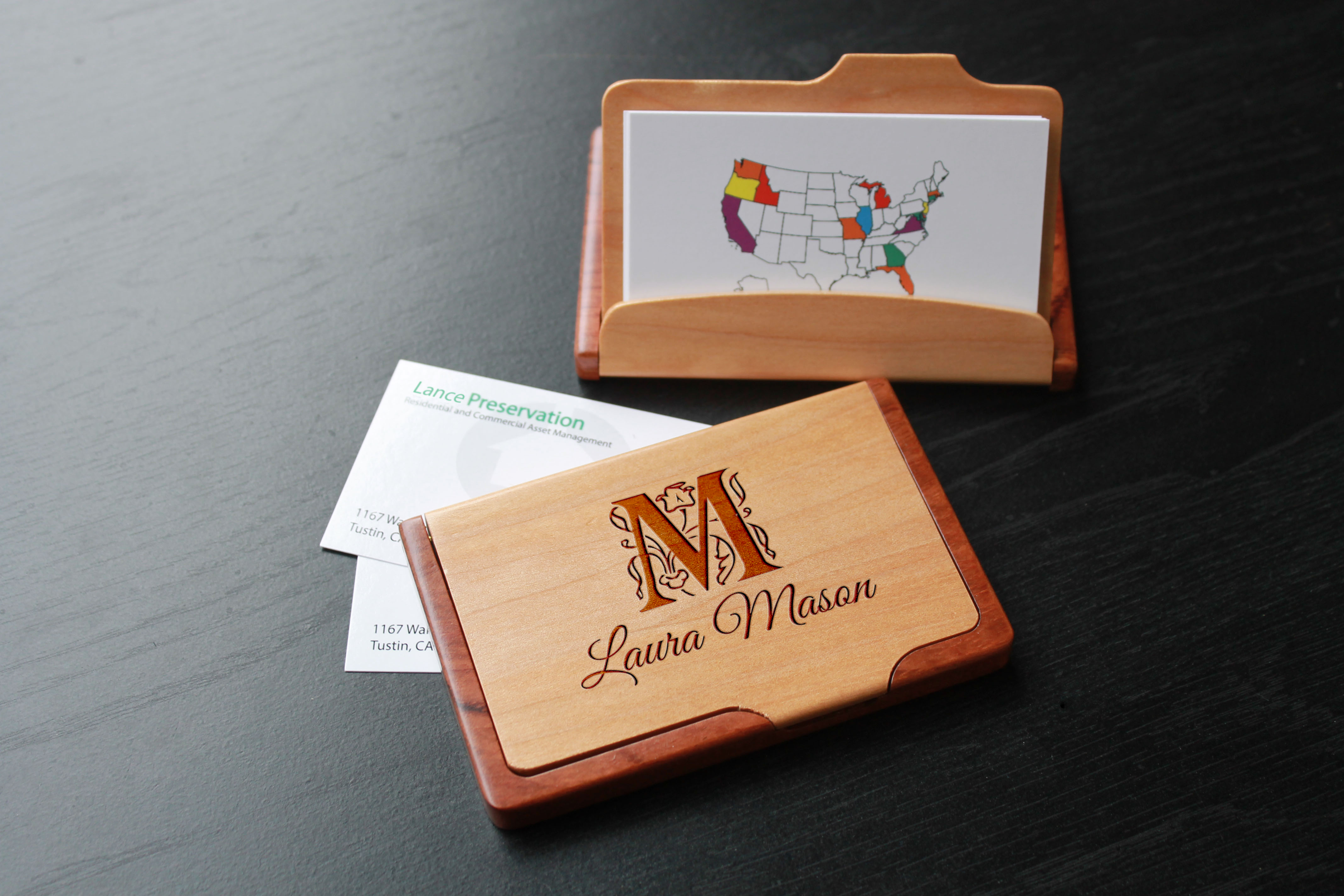 Personalized Wood Business Card Holder   Laura Mason - Etchey