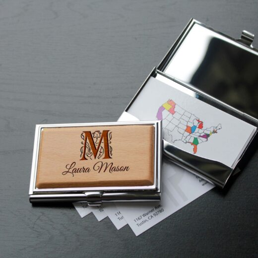 Personalized Wood Silver Business Card Holder   Laura Mason