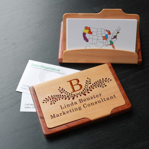 Personalized Wood Business Card Holder | Linda Beuster
