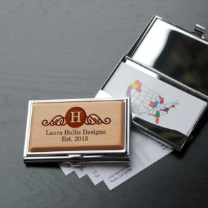 Personalized Wood Silver Business Card Holder | Linda Hollins