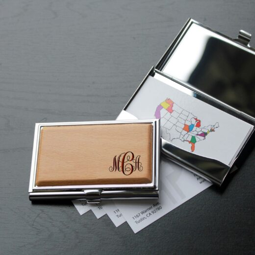 Personalized Wood Silver Business Card Holder | MCA Corner