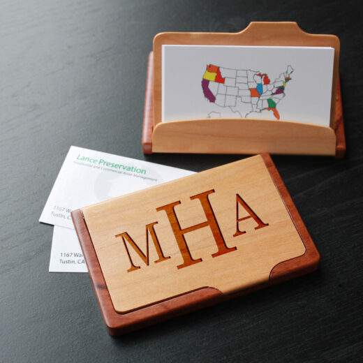 Personalized Wood Business Card Holder | MHA center