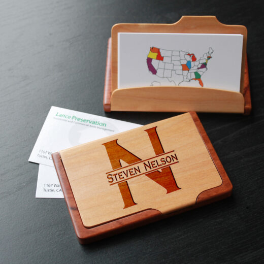 Personalized Wood Business Card Holder | Steven Nelson