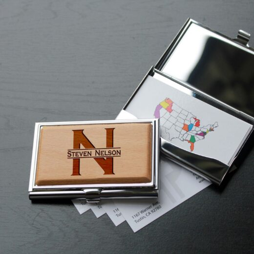 Personalized Wood Silver Business Card Holder | Steven Nelson
