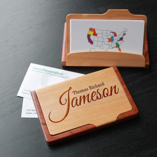 Personalized Wood Business Card Holder | Thomas Richard Jameson