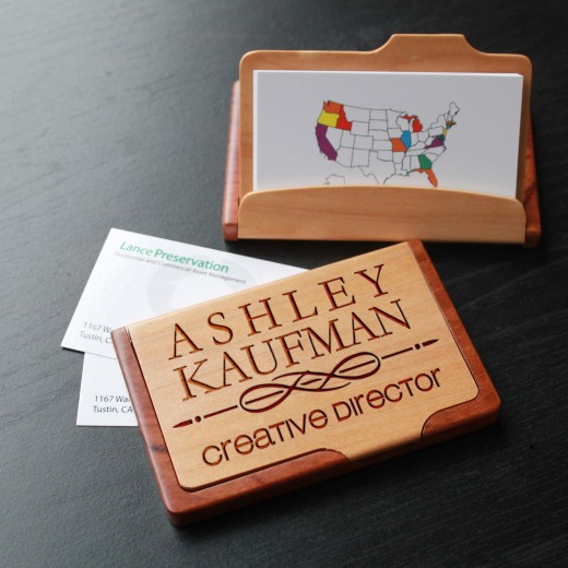 Personalized Wood Business Card Holder | Ashley Kaufman