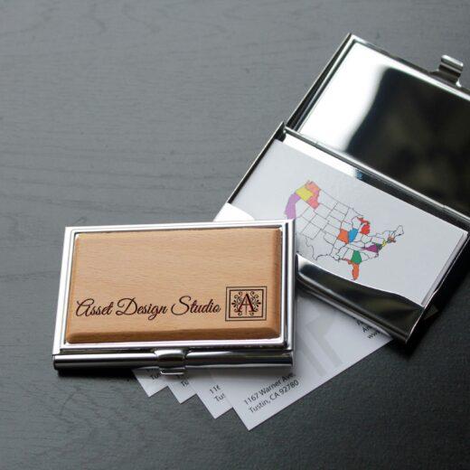 Personalized Wood Silver Business Card Holder | Asset Design Studio