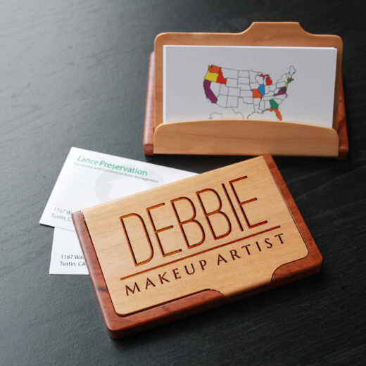 Personalized Wood Business Card Holder   Debbie