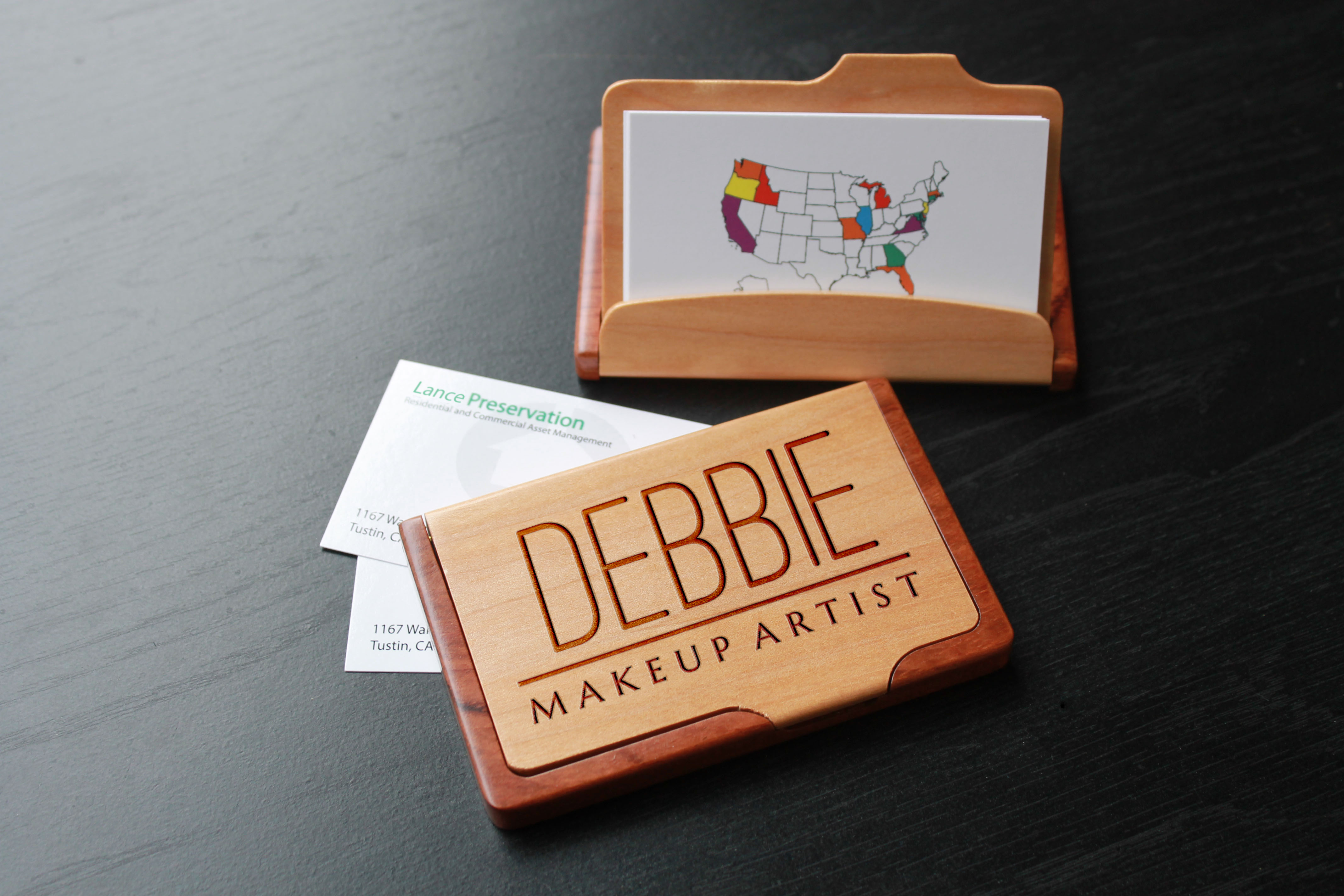 Personalized wood business card holder debbie etchey personalized wood business card holder debbie colourmoves