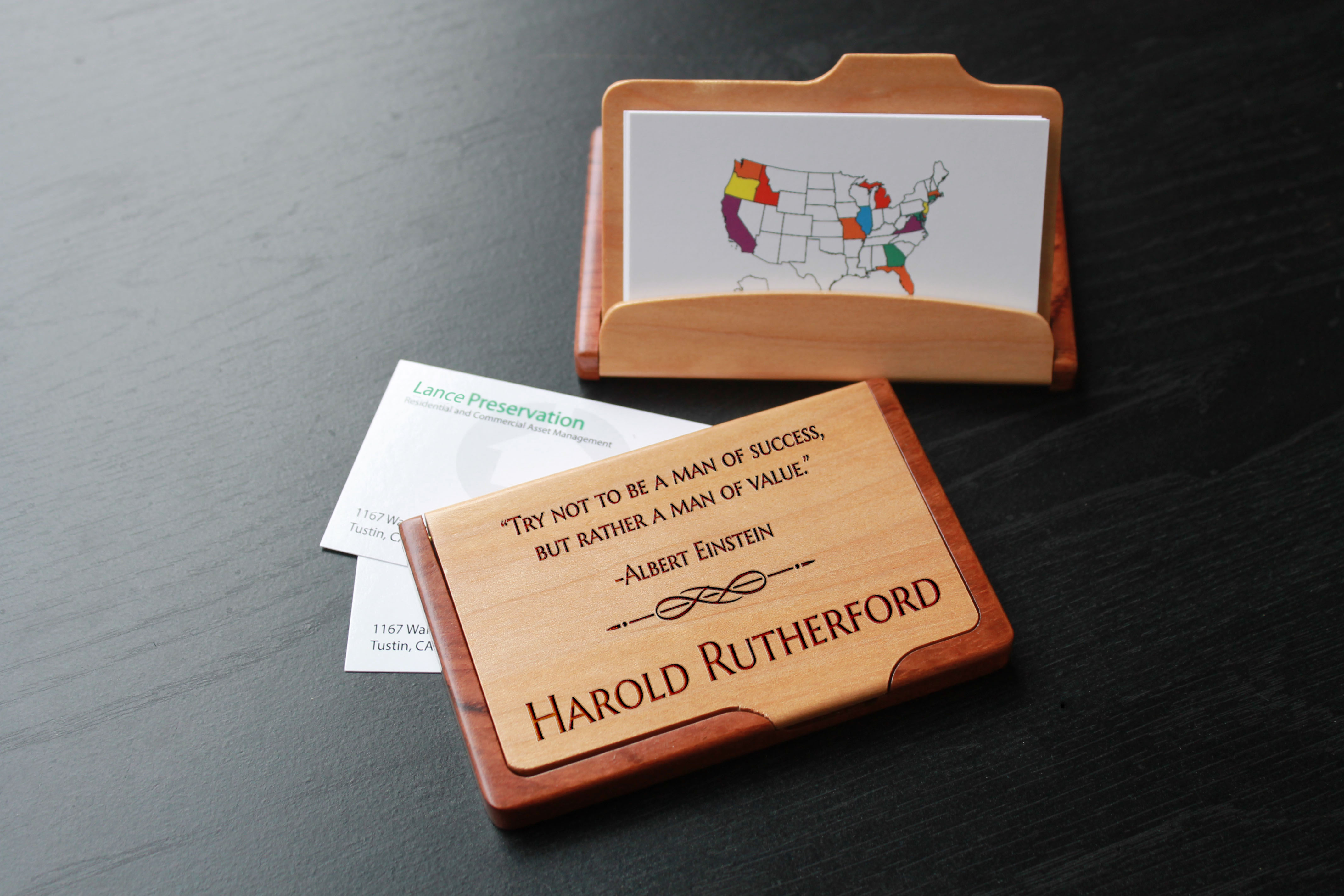 Personalized Wood Business Card Holder | Harold Rutherford - Etchey