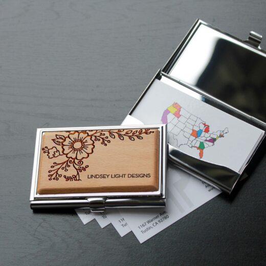 Personalized Wood Silver Business Card Holder   Lauren Light Design