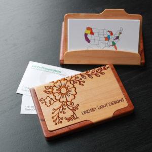 Personalized Wood Business Card Holder | Lindsey Light Design