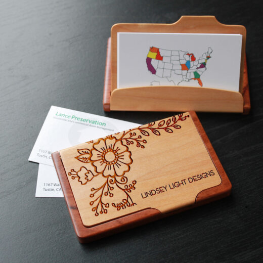 Personalized Wood Business Card Holder | Lindsey Light Design