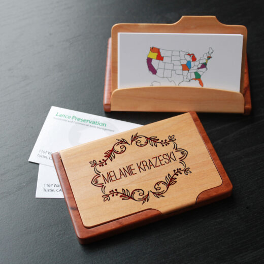 Personalized Wood Business Card Holder | Melanie Krazeski