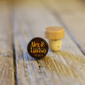 Lot of Personalized Wine Stopper Dark | Alex and Lindsay