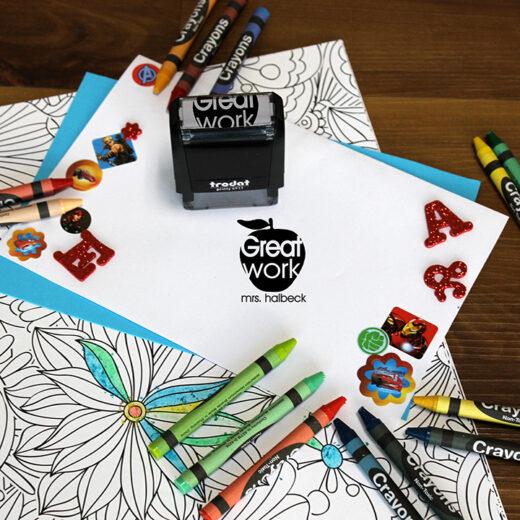 Personalized Teacher Self Ink Stamp   Halbeck