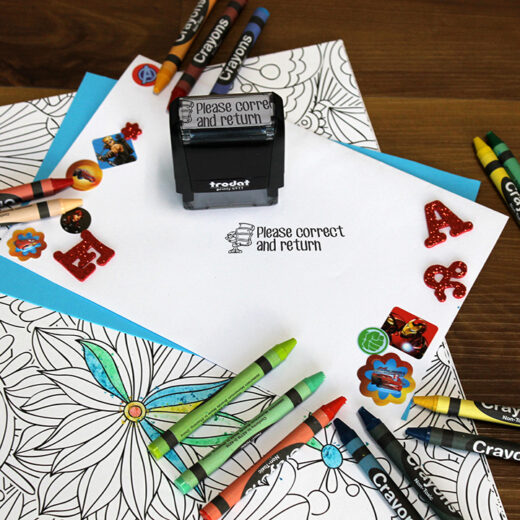 Personalized Teacher Self Ink Stamp   HW Book