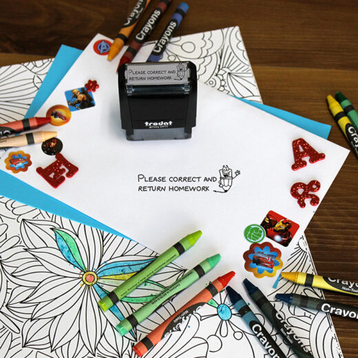Personalized Teacher Self Ink Stamp   HW Pencil
