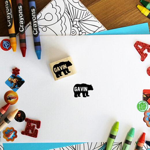 Personalized Kids 1x1 Wood Block Stamp   Gavin
