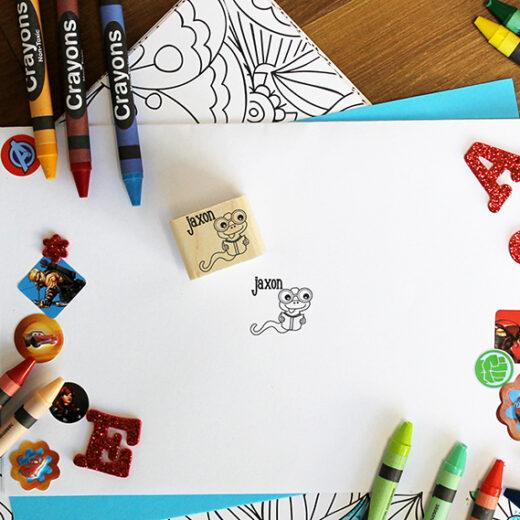 Personalized Kids 1x1 Wood Block Stamp   Jaxon