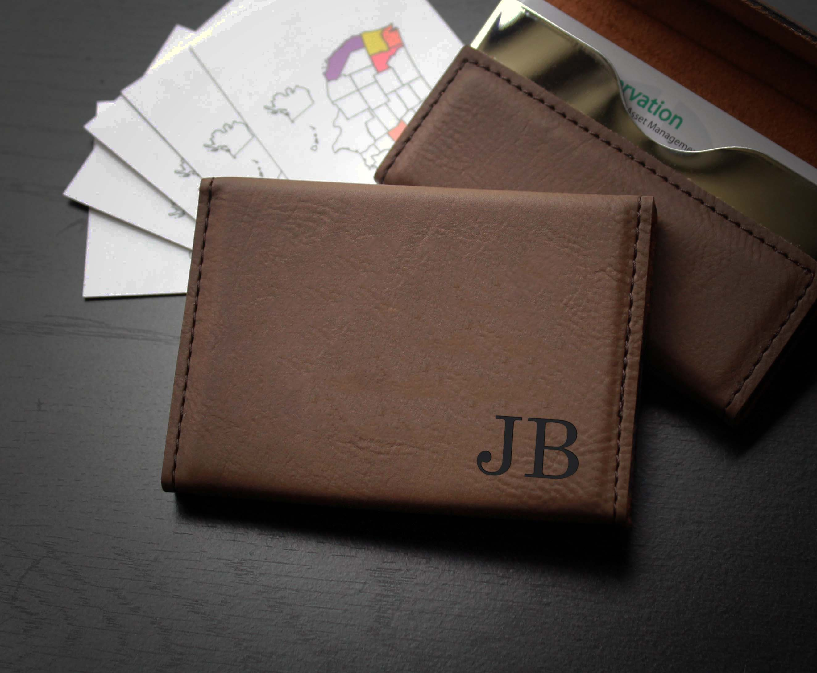 leather business card holder jb corner - Leather Business Card Holder