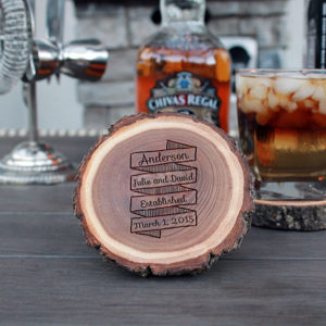 Personalized Wood Log Coasters | Anderson