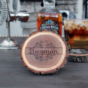 Personalized Wood Log Coasters | Bowman